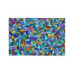 Arty Blue Mosaic Rectangle Magnet (10 pack)