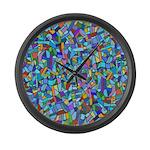 Arty Blue Mosaic Large Wall Clock