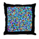 Arty Blue Mosaic Throw Pillow