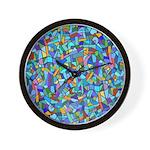 Arty Blue Mosaic Wall Clock