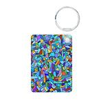 Arty Blue Mosaic Aluminum Photo Keychain