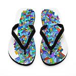 Arty Blue Mosaic Flip Flops