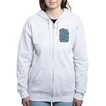 Arty Blue Mosaic Women's Zip Hoodie