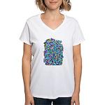 Arty Blue Mosaic Women's V-Neck T-Shirt
