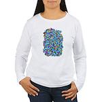 Arty Blue Mosaic Women's Long Sleeve T-Shirt
