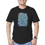 Arty Blue Mosaic Men's Fitted T-Shirt (dark)