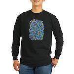 Arty Blue Mosaic Long Sleeve Dark T-Shirt