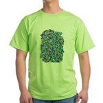 Arty Blue Mosaic Green T-Shirt