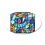 Stained Glass Pattern 38.5 x 24.5 Oval Wall Peel