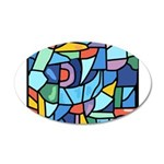 Stained Glass Pattern 22x14 Oval Wall Peel
