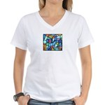 Stained Glass Pattern Women's V-Neck T-Shirt
