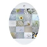 White Photography Collage Ornament (Oval)