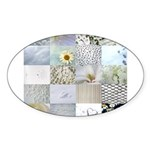 White Photography Collage Sticker (Oval 50 pk)