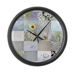 White Photography Collage Large Wall Clock