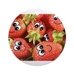 Cute Happy Strawberries Ornament (Round)