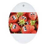 Cute Happy Strawberries Ornament (Oval)
