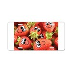 Cute Happy Strawberries Aluminum License Plate