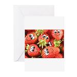 Cute Happy Strawberries Greeting Cards (Pk of 20)