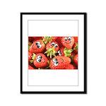 Cute Happy Strawberries Framed Panel Print
