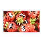 Cute Happy Strawberries 38.5 x 24.5 Wall Peel