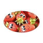 Cute Happy Strawberries 38.5 x 24.5 Oval Wall Peel