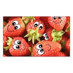 Cute Happy Strawberries Sticker (Rectangle 10 pk)