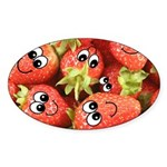 Cute Happy Strawberries Sticker (Oval 10 pk)