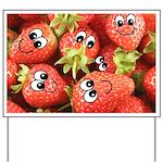 Cute Happy Strawberries Yard Sign