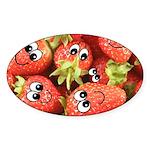 Cute Happy Strawberries Sticker (Oval)