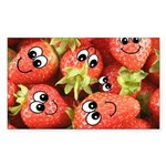 Cute Happy Strawberries Sticker (Rectangle)