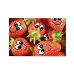 Cute Happy Strawberries Rectangle Magnet (100 pack