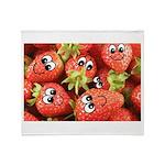 Cute Happy Strawberries Throw Blanket