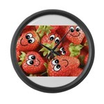 Cute Happy Strawberries Large Wall Clock