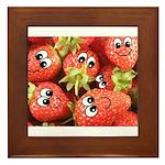 Cute Happy Strawberries Framed Tile
