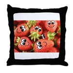 Cute Happy Strawberries Throw Pillow