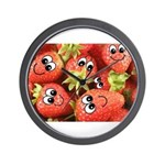 Cute Happy Strawberries Wall Clock