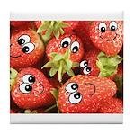 Cute Happy Strawberries Tile Coaster