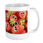 Cute Happy Strawberries Large Mug