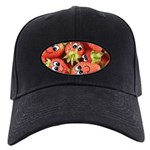Cute Happy Strawberries Black Cap