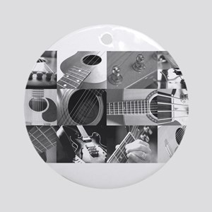 Stylish Guitar Photo Collage Ornament (Round)