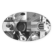 Stylish Guitar Photo Collage Sticker (Oval)