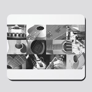 Stylish Guitar Photo Collage Mousepad