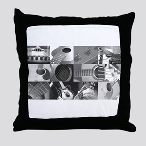 Stylish Guitar Photo Collage Throw Pillow