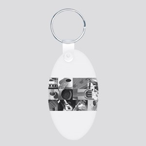 Stylish Guitar Photo Collage Aluminum Oval Keychai