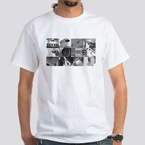 Stylish Guitar Photo Collage White T-Shirt