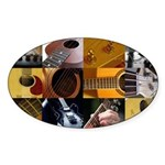 Guitar Photography Collage Sticker (Oval)