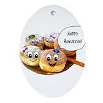 Happy Hanukkah Donuts Ornament (Oval)