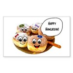 Happy Hanukkah Donuts Sticker (Rectangle 50 pk)