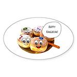 Happy Hanukkah Donuts Sticker (Oval 50 pk)