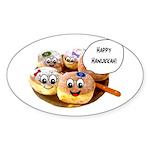 Happy Hanukkah Donuts Sticker (Oval)